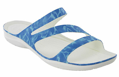 Crocs Swiftwater Graphic Sandal W Beach Holiday Unisex Slip On White All Sizes