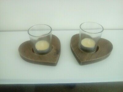 Pair of rustic wooden hand made heart shaped tea candle light holders