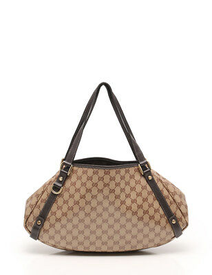 4a1cfe6a490 GUCCI GG Crystal Abbey shoulder bag coated canvas leather beige dark brown