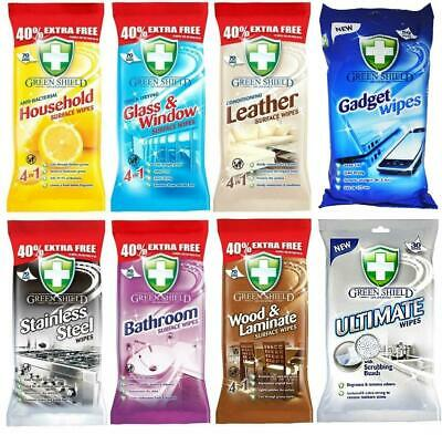 Green Shield Anti Bacterial Cleaning Wipes Leather Glass Stainless Steel Surface