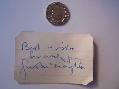 Justin Naughton -  Autograph  - Previously stuck down  2 x 3  inches