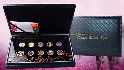 Singapore 2011 Set of 10 Silver Coins The Grandeur of Heritage Orchids Series