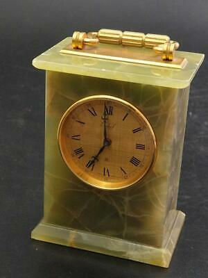 Green Onyx and Brass Imhof Swiss Made Mantel Clock For Parts