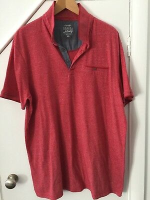 Mens George Asda Red Polo Shirt T-Shirt Top Short Sleeve XL VGC