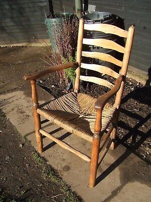 antique country ladder back armchair