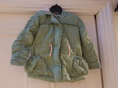 Girls 18-24 Months 2 yrs light Coat Jacket George green hooded pockets padded