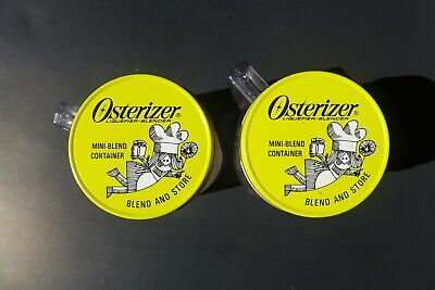 Vintage Osterizer Lot of 2 Mini-Blend Containers Blend and Store Plastic 8 Ounce