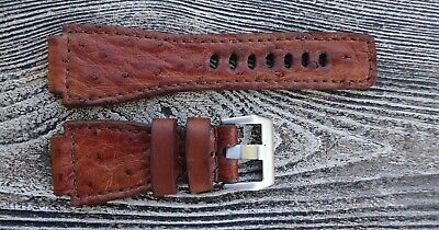 886338136 24 Mm Ostrich- Leather Watch Strap Hand Made-Vintage.bell & Ross Style
