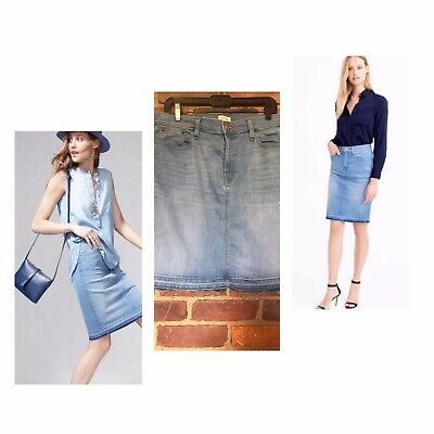 463f7adfdf J CREW SKIRT Jean Denim Frayed Hem Pencil Raw Blue Size 32 X 20 -33 ...