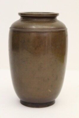 "Vintage Asian Japanese Brown Bronze Vase Signed ~ 6"" Tall"