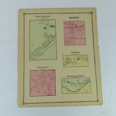 1874 Original Map Port Murray, NJ  F.W. Beers Warren County Mount Bethel Rockpor