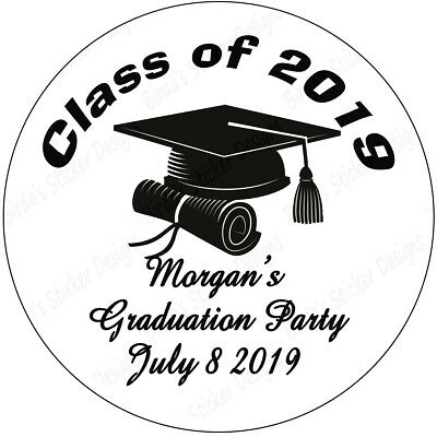 "40  2"" Round Graduation Labels Stickers Personalized Party Favors Class of  2019"