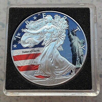 Usa 2014 one dollar American Silver Eagle Statue of Liberty 1 oz 999 colorized