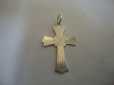 Nice old vintage retro sterling silver 1970's bright cut cross pendant