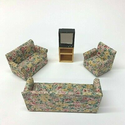 Vintage Set of 4 Miniature Doll House Fabric Furniture Sofa Loveseat Chair + TV
