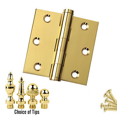 Door Hinge 3 x 3 Solid Brass Polished Brass Architect Grade w/ Tips
