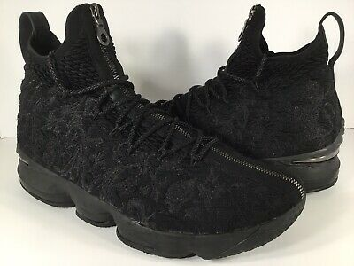156d40a9772 Nike Lebron 15 Kith Performance Suit Of Armor Triple Black Mens Size 12 Rare