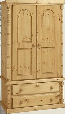 Handmade Ashley Furniture  Antique Pine Double 2 Drawer Wardrobe No Flat Packs