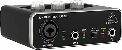 Behringer UM2 U-Phoria USB Audio Interface with switchable +48V phantom power