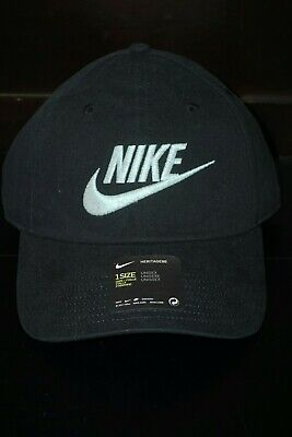 7d12092a7dd150 Nike Heritage 86 Futura Washed Hat Court Black Teal Unisex 626305-016 NWT