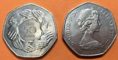 1973 EEC EU Clasped Hands Large 50P Fifty Pence Coin *BI24
