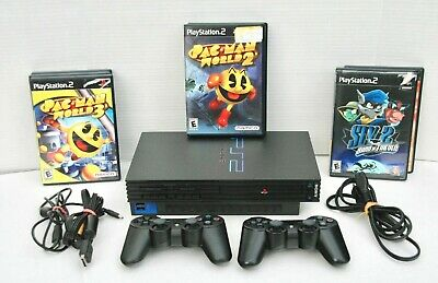 Sony Playstation 2 PS2 Fat Console SCPH-50001 Bundle 2 Controllers 7 gamesTested