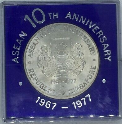 Singapore 1977 Asean 10th Anniversary 10 Dollars Coin with Box