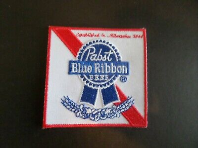 """Pabst Blue Ribbon"""" Beer Red & White Embroidered Iron On Patches 3 X 4"""