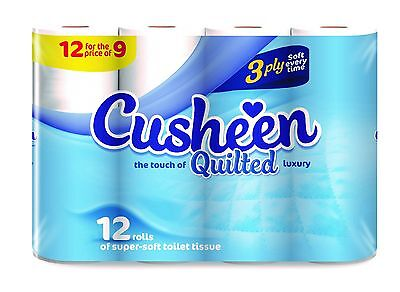 60 Cusheen 3Ply Quilted White Soft Toilet Rolls (Unscented - Not Cherry)