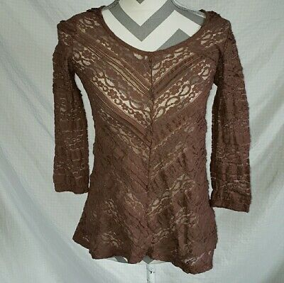 538625820d4222 Anthropologie Lilka Brown Lace Spring Sheer Top Shirt Blouse Size XS Extra  Small
