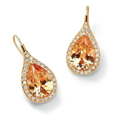11.60 TCW Champagne CZ 14k Gold-Plated Halo Pear Earrings