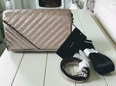 acd834eb ZARA QUILTED CROSSBODY Bag With Stud Details Black New - $54.96 ...