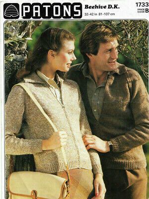 vintage knitting pattern; patons 1733 DK plain and simple jacket with zip