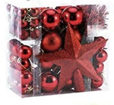 Luxury Red 77 Shatterproof Baubles Decoration with Tree Topper Tinsel
