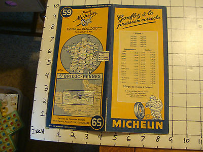 Vintage Original map of France: MICHELIN #59, ST. BRIEU - RENNES, 42.5X19.5""