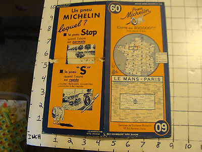 Vintage Original map of France: MICHELIN #60, LE MANS - PARIS, 42.5X19.5""