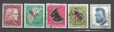 Q508H-Sellos Suiza Serie Completa 19,00€ ,Juventud.1953 Nº 539/43 Insectos,Marip
