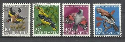 Q508G-Sellos Suiza Serie Completa Fauna Pro Juventute.año 1969 Aves Nº846/9.Helv