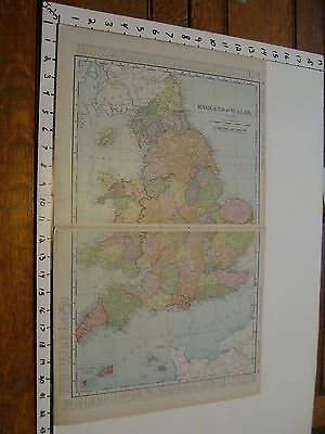 """Vintage 22 x 14""""  MAP 1895--ENGLAND & WALES"""