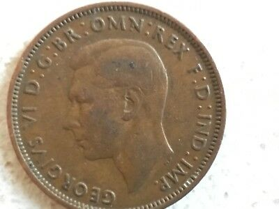 1945 George VI British halfpenny ship half pence