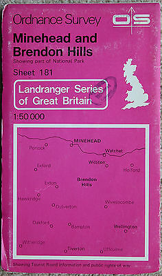 Ordnance Survey Landranger Map 181 Minehead, Watchet & Brendon Hills 1982 UK OS