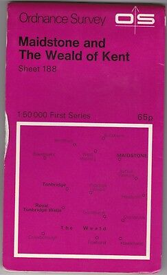 Ordnance Survey Map Sheet 188 Maidstone & The Weald of Kent 1974 First Series OS