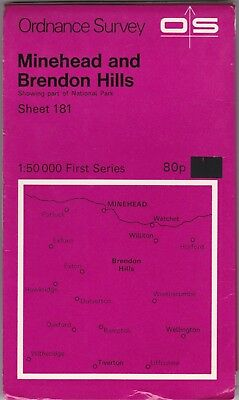 Ordnance Survey Map Sheet 181 Minehead & Brendon Hills 1974 First Series OS