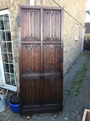 LARGE ANTIQUE Victorian Pitch Pine Door, Carved English Oak Panel , Linen Scroll