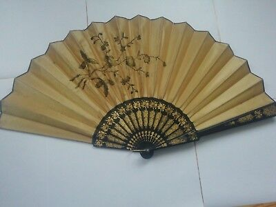 Antique late 19th century Hand decorated  fan