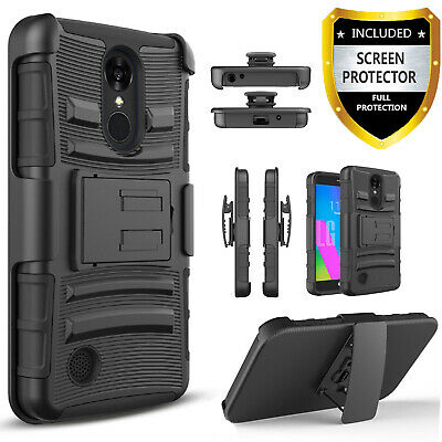 For LG Tribute Empire /Tribute Dynasty Phone Belt Case +Tempered Glass Protector