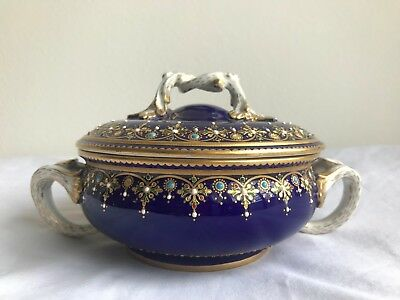 Very Fine French 19th Century Porcelain and Enamel Sevres Two Handle Bowl
