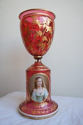 French 19th Century Overlay Cranberry Glass Flower Vase