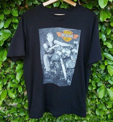 Vintage 90S Willie Nelson Born For Trouble Harley Davidson Shirt Country Rare
