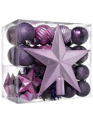 Luxury Purple Pink Silver 42 Shatterproof Baubles Decoration with Tree Topper